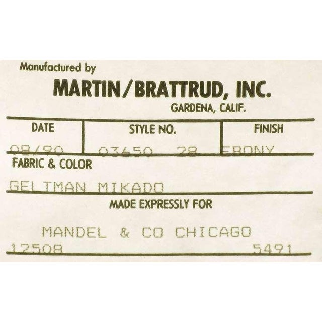 Four Martin Brattrud Ebonized & Upholstered Arm Chairs. - Image 9 of 9