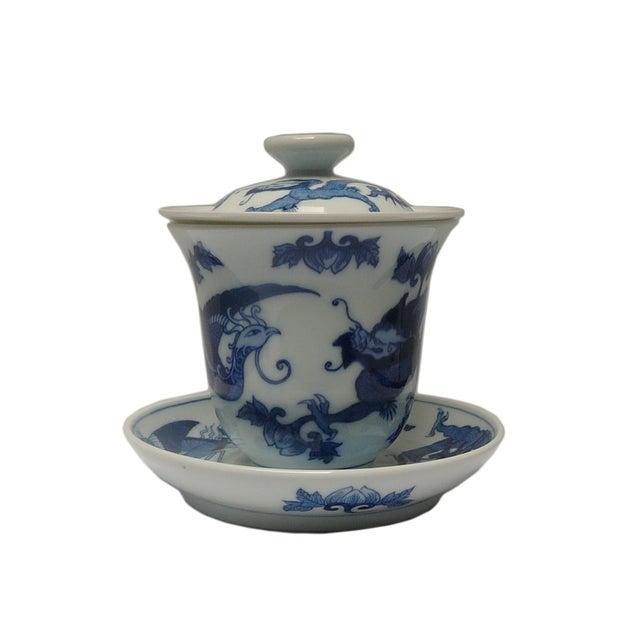 Chinese Blue & White Porcelain Dragon Tea Set For Sale