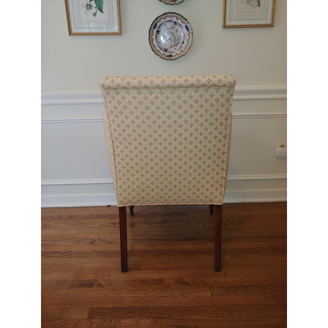 1970s Council Furniture Pull Up Chairs Upholstered in Scalamandre - A Pair For Sale - Image 5 of 8