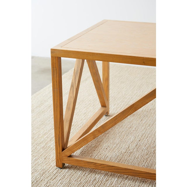 Mid-Century Modern Oak Architectural Writing Table Desk For Sale - Image 11 of 13