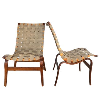 1940s Scandinavian Modern Bruno Mathsson for Karl Mathsson Eva Chairs - a Pair For Sale