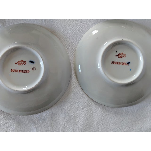 Ceramic Vintage Russian Lomonosov Cobalt Net Demitasse Set - 16 Pieces For Sale - Image 7 of 11
