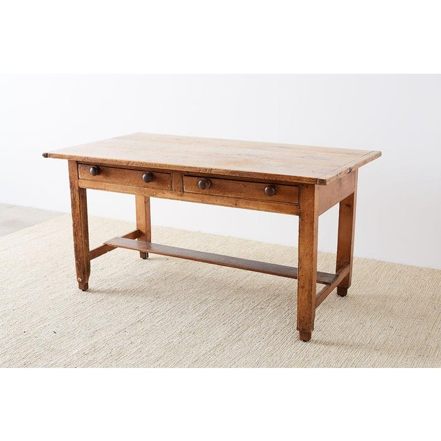 Rustic English Pine Library Table or Farm Table For Sale - Image 4 of 13