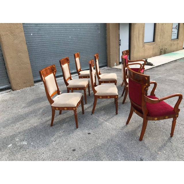 1910s Vintage Biedermeier Style Flame Mahogany Dining Chairs- Set of 8 For Sale - Image 4 of 13