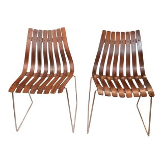 Vintage Mid Century Modern Pair of Hans Brattrud Scania Rosewood Chairs For Sale