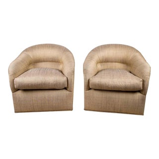 Opulent J. Robert Scott Upholstered Club Chairs For Sale