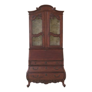 1990s French Hekman Style Distressed Cherry Secretary Desk For Sale