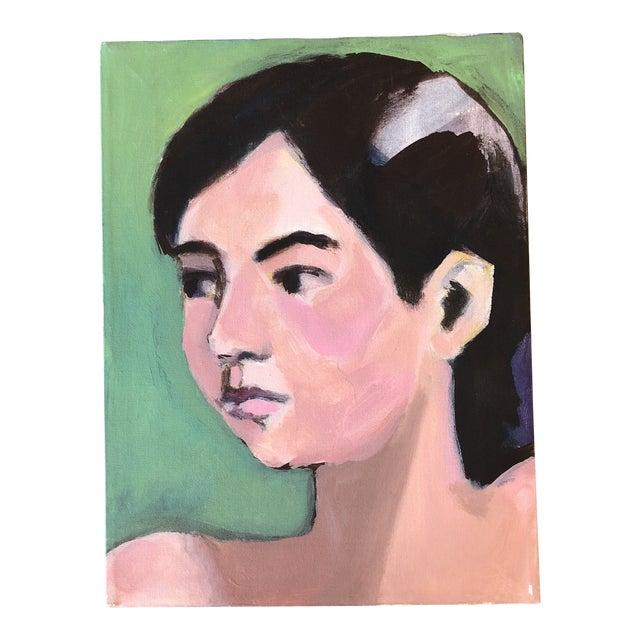 Vintage Original Female Portrait Painting 1980's For Sale