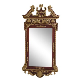 Large Chippendale Style Mahogany & Gold Mirror
