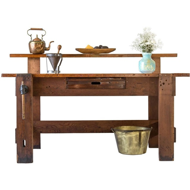 Early 20th Century Rustic Carpenter's Workbench Sideboard For Sale - Image 5 of 13