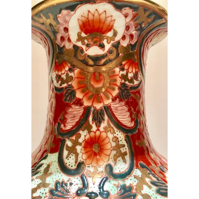 Hand-Painted Porcelain Imari Vase Table Lamps - A Pair - Image 10 of 10