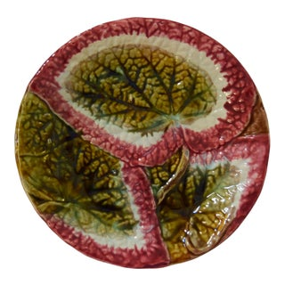 Vintage Majolica Begonia Leaf Plate For Sale