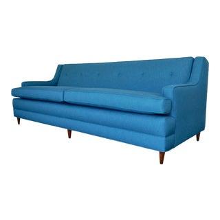 Mid-Century Modern Teal Maharam Fabric Sofa For Sale