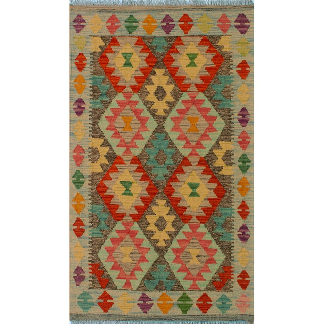 "Blue Kilim Arya Sang Blue & Gray Wool Rug - 2' 7"" X 4' 1"" For Sale - Image 8 of 8"