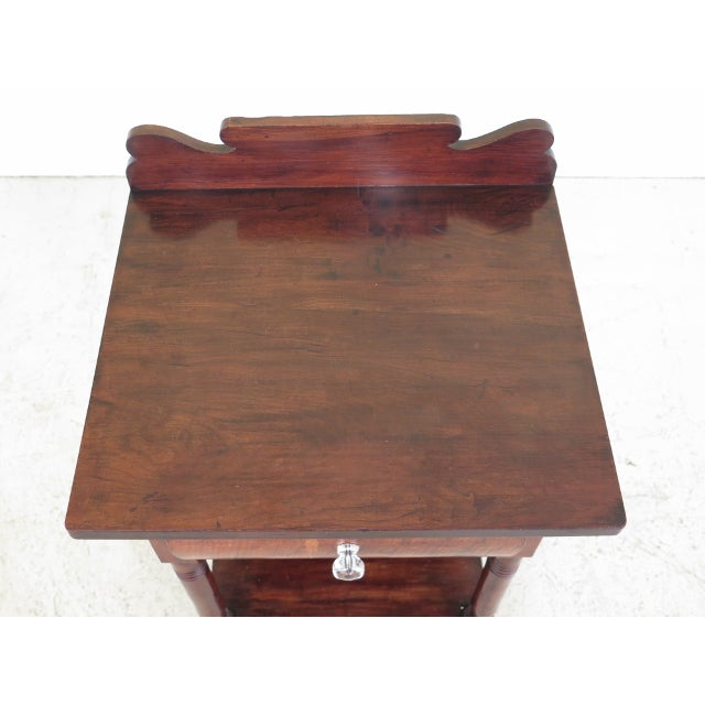 Antique Sheraton Style 1 Drawer Work Table Washstand Age: Approx: 150 Years Old Details: Dovetailed Drawer Construction...