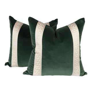 Emerald Green Velvet Greek Key Pillows - A Pair