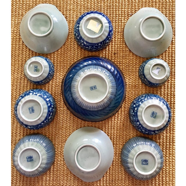 Japanese Blue & White Ceramic Bowls - Set of 10 - Image 3 of 10