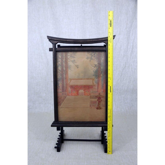 Antique M. Kano Watercolor Painting on Pagoda Stand - Image 6 of 9