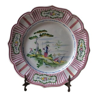 French Faience Stoneware Plate For Sale