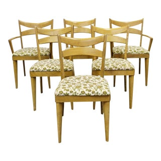 Set of 6 Mid-Century Modern Heywood Wakefield Wheat Bow Tie Dining Chairs 953 For Sale