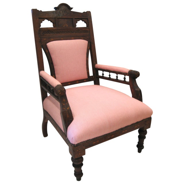 Antique Eastlake Style Wood Inlay Chair - Image 1 of 8