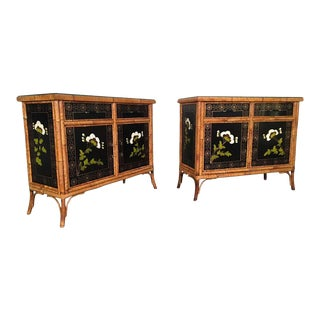 Pair of Asian Hand Painted Bamboo Cabinets, Circa 1950s For Sale