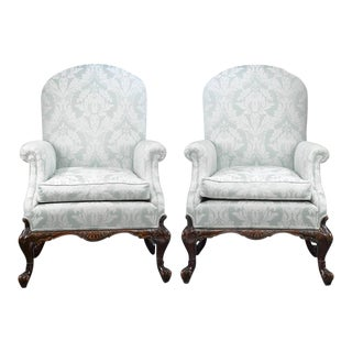 George II Style Mahogany Armchairs - A Pair For Sale