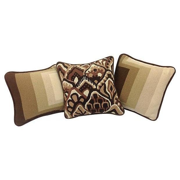 Mod Needlepoint Pillows - Set of 3 - Image 1 of 5