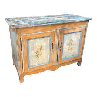 Antique Italian 18th C Tuscan Paint Decorated Sideboard Buffet W Trompe l'Oeil For Sale