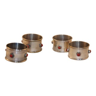 1980s Vintage Silver Plate Napkin Rings - Set of 4 For Sale