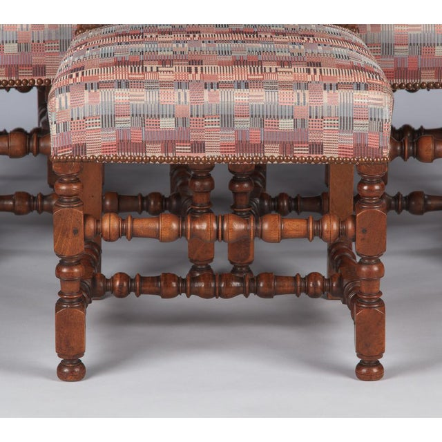 Wood 1920s Louis XIII Style Upholstered Walnut Chairs - Set of 6 For Sale - Image 7 of 13
