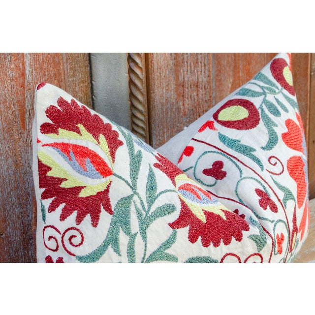 Boho Chic Nalin Coral Floral Suzani Pillow For Sale - Image 3 of 10
