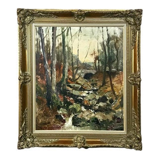 Antique Framed Oil Painting on Canvas by Toussaint For Sale
