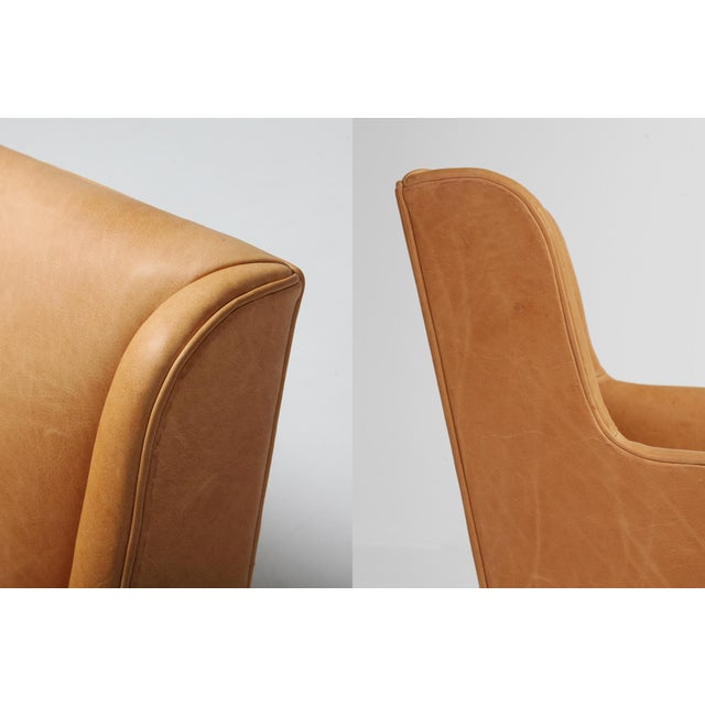 Tan Scandinavian Modern Bergere Chairs in Camel Leather For Sale - Image 8 of 11