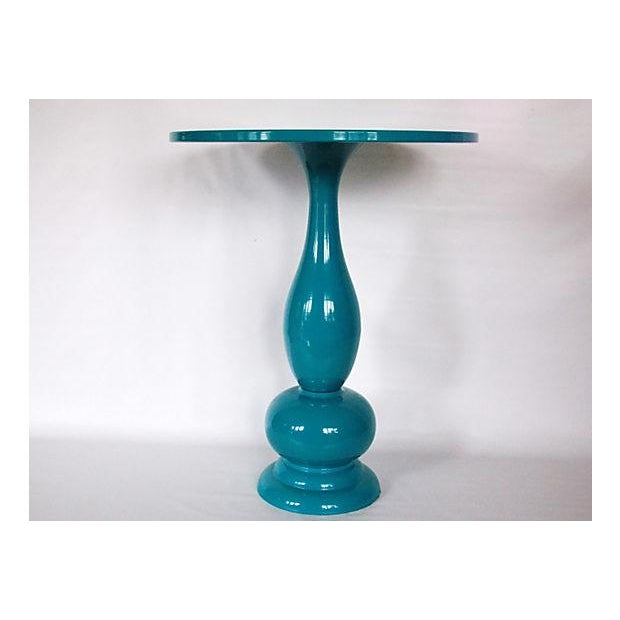 Teal Lacquer Bistro Table - Image 2 of 8