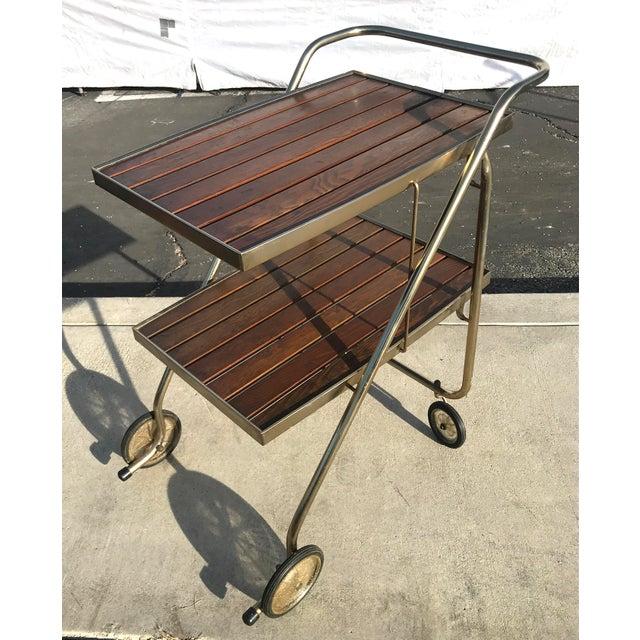 Mid-Century Wood Slat & Metal Rolling Bar Cart - Image 2 of 10