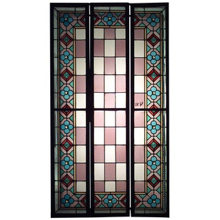 Early 20th Century English Arts & Crafts Stained Glass Window Panels-Set of 3 For Sale