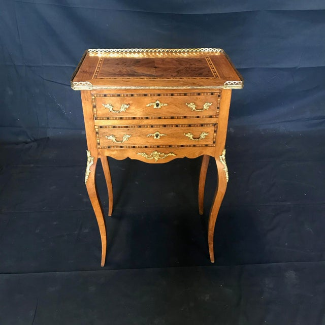 Louis XV Style Inlaid Night Stand or Side Table With Gold Fretwork For Sale - Image 12 of 12