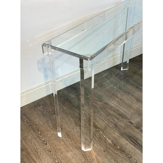 Sleek Modern Lucite and Glass Console For Sale - Image 9 of 11