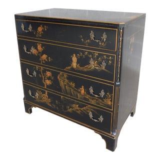 Union National Jamestown Black Lacquer Chinoiserie Decorated Chest For Sale