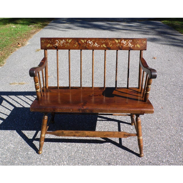 Vintage Spindle Back Harvest Stenciled Solid Pine Farmhouse Bench Settee For Sale - Image 13 of 13