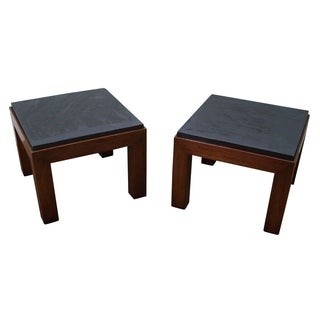 Heritage Mid-Century Walnut Slate Top End Tables For Sale