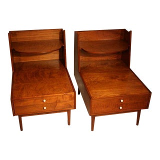 Kipp Stewart Drexel Declaration Walnut Nightstands - a Pair For Sale