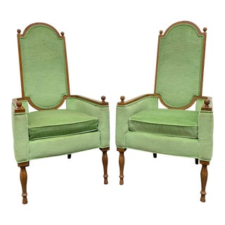 Mid-Century Era Gothic Arm Chairs - Pair For Sale