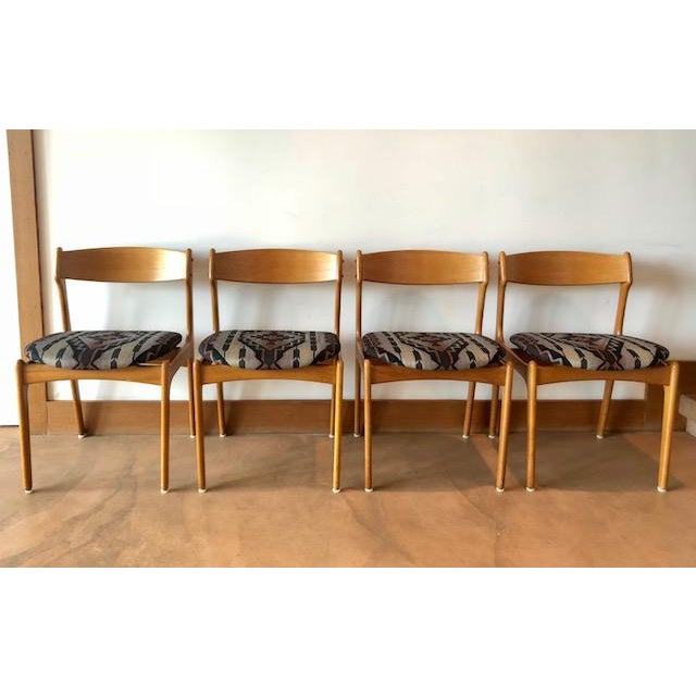 Fabric Mid-Century Upholstered Teak Chairs - Set of 4 For Sale - Image 7 of 8