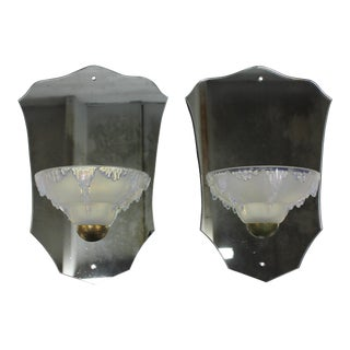 1940s Ezan French Art Deco Mirror Back Opalescent Sconces - a Pair For Sale