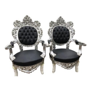 Italian Baroque Silver & Black Chairs - A Pair For Sale