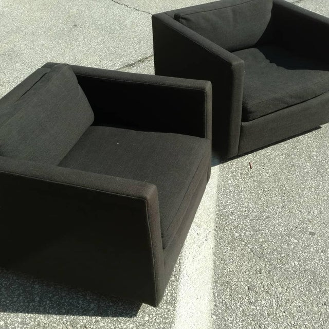 This pair of Knoll club chairs lived in a bank for the better part of their lives. These chairs were really originally...