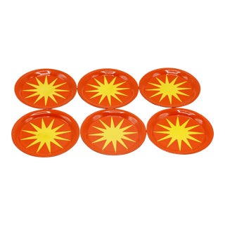 Mid Century Starburst Coasters - Set of 6 For Sale