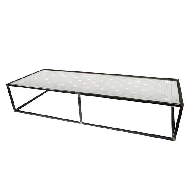 1900 Vintage French Etched Glass and Steel Coffee Table For Sale - Image 4 of 7